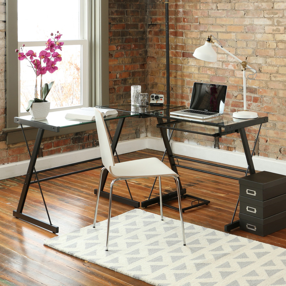Glass Top Modern L-Shaped Desk