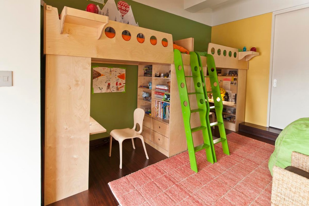 Mirrored Loft Beds With Desk for Siblings