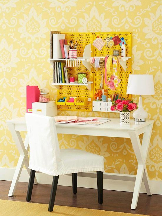 Pegboard Home Office Organizer Ideas